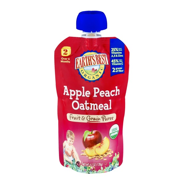 Earth's Best Organic Stage 2 Apple Peach Oatmeal Fruit & Grain Puree