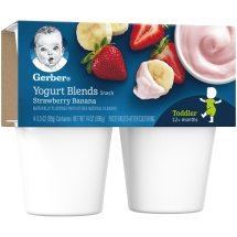Gerber Yogurt Blends Snack, Strawberry Banana, 3.5 oz Cups, 4 Count