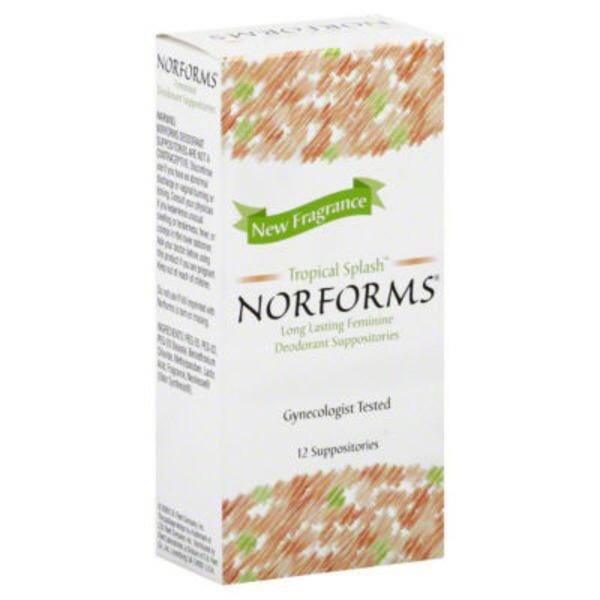 Norforms Deodorant Suppositories Tropical Splash - 12 CT, Norforms Supositorios Desodorantes Tropical Splash - 12 CT