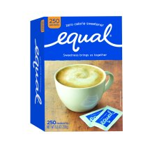 Equal Coffee and Tea Sweetener Sugar Free Sweetener with No Calories Artificial Sugar Replacement Sweetener, 250ct