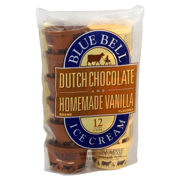 Blue Bell Dutch Chocolate and Homemade Vanilla Ice Cream