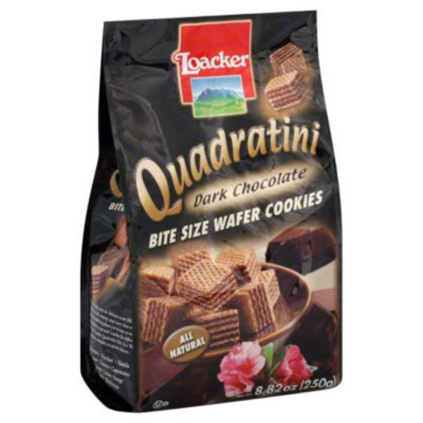 Loacker Quadratic Bite Size Dark Chocolate Wafer Cookies
