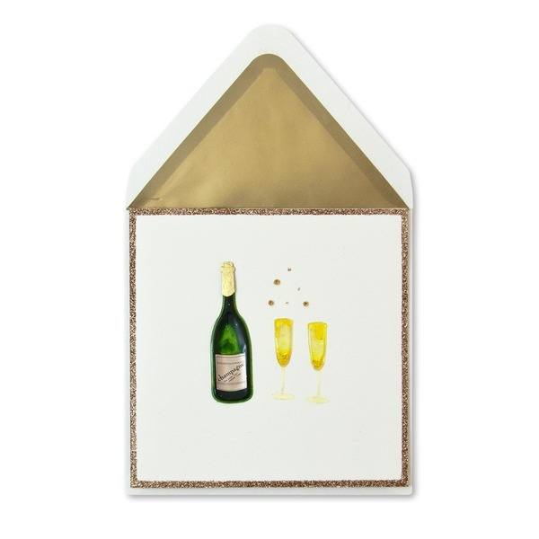 Papyrus Champagne Bottle & Glasses Card
