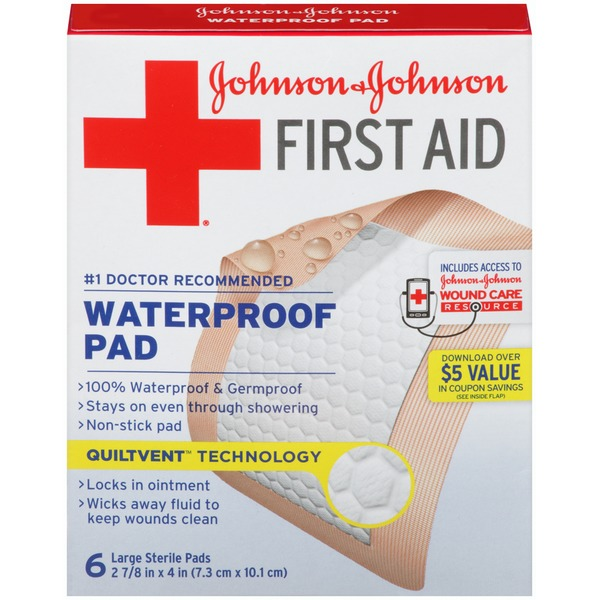 Band Aid® Brand Of First Aid Products J&J Band-Aid FA Waterproof 2.875 X 4 Large Pad First Aid Covers Gauze Pads