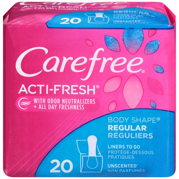 Carefree Acti-Fresh Body Shape Regular Unscented To Go Panty Liners