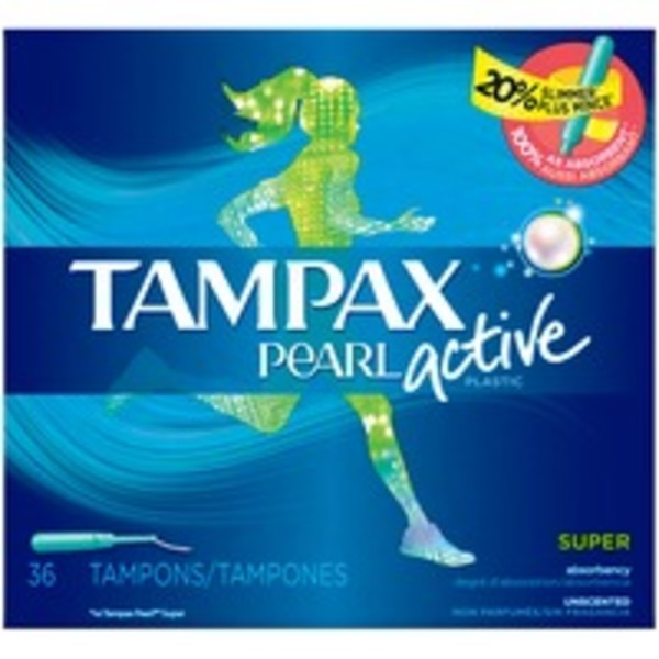 Tampax Pearl Active Tampax Pearl Active Super Plastic Tampons, Unscented, 36 Ct Feminine Care