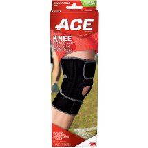 ACE Knee Brace With Dual Side Stabilizers and Comfort Fit Sleeve To Help Reduce Knee Irritation, Black/Gray