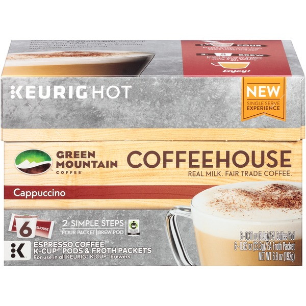 Green Mountain Coffee Coffeehouse Cappuccino K-Cup Pods & Froth Packets Coffee