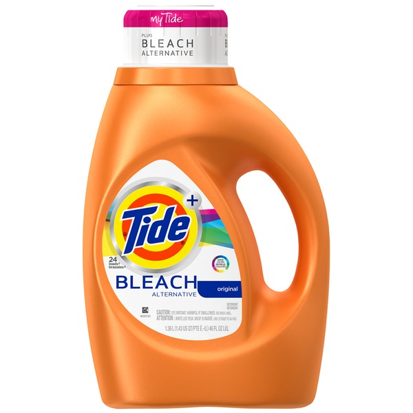 Tide Plus Bleach Alternative Original Scent Liquid Laundry Detergent, 46 oz, 24 loads Laundry