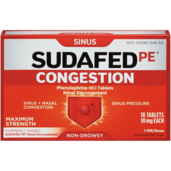 Sudafed Pe® Non-Drowsy Sinus Congestion Maximum Strength Tablet
