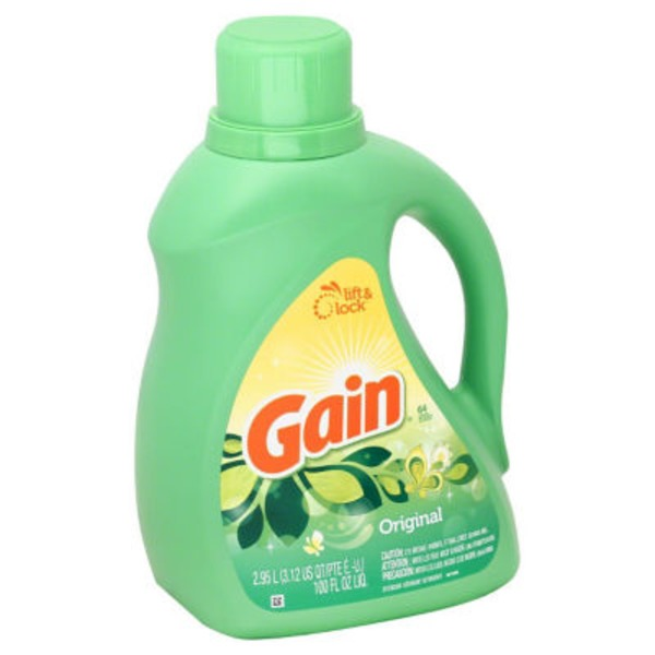 Gain Liquid Laundry Detergent, Original Scent, 64 loads, 100 oz Laundry