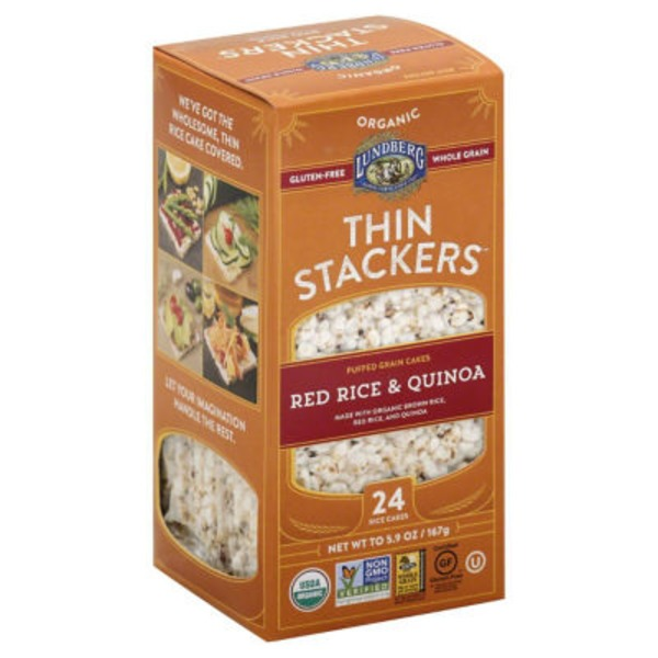 Lundberg Family Farms Thin Stackers Organic Red Rice & Quinoa Puffed Grain Cakes