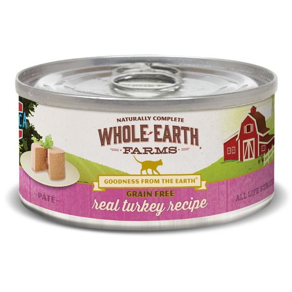 Whole Earth Farms Grain Free Real Turkey Canned Cat Food Case Of 24 5 Oz.