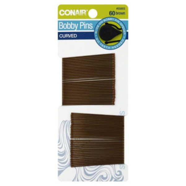 Conair Bobby Pins Brown Curved - 60 CT