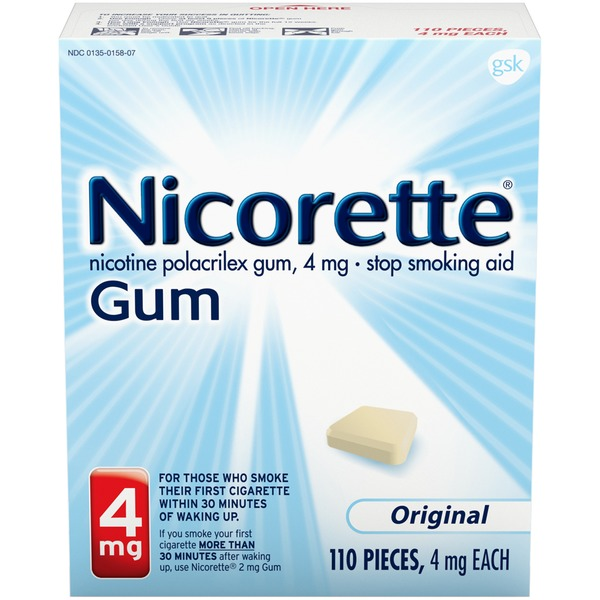 Nicorette 4mg Original Gum Stop Smoking Aid