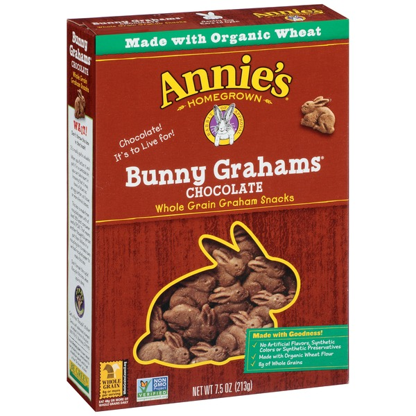 Annie's Homegrown Organic Chocolate Bunny Grahams Baked Grahams Snacks