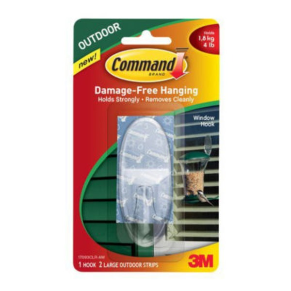 3m Command Damage-Free Hanging Outdoor Window Hook Clear