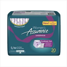 Assurance Incontinence Underwear for Women, Maximum, S/M, 20 Ct