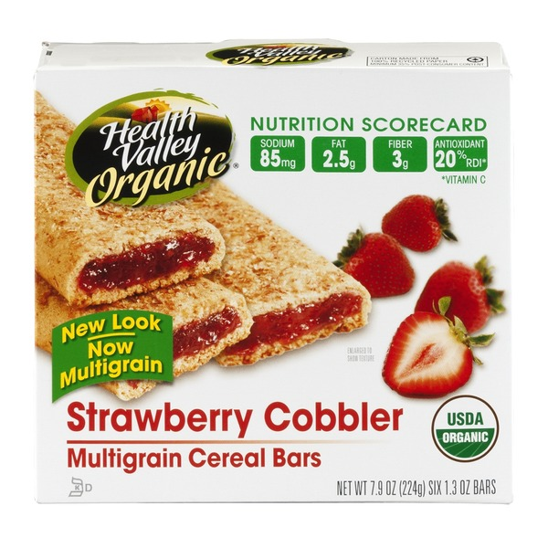Health Valley Organic Multigrain Cereal Bars Strawberry Cobbler - 6 CT
