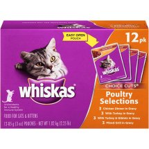 WHISKAS CHOICE CUTS Poultry Selections Variety Pack Wet Cat Food 3 Ounces (12 Count)