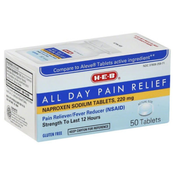 H-E-B All Day Pain Relief Naproxen Sodium Tablets