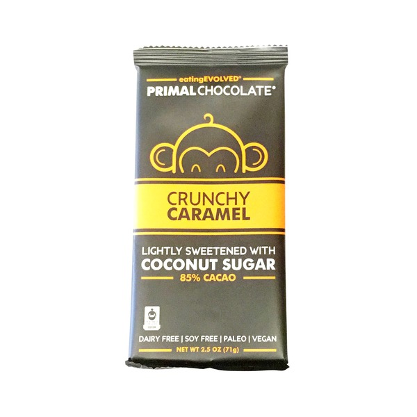 Eating Evolved Crunchy Caramel Chocolate Bar Lightly Sweetened With Coconut Sugar