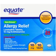 Equate Non-Drowsy Allergy Relief Loratadine Tablets, 10 mg, 10 Ct
