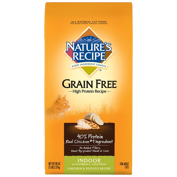 Nature's Recipe Adult Grain Free Indoor With Hairball Control Chicken & Potato Recipe Cat Food
