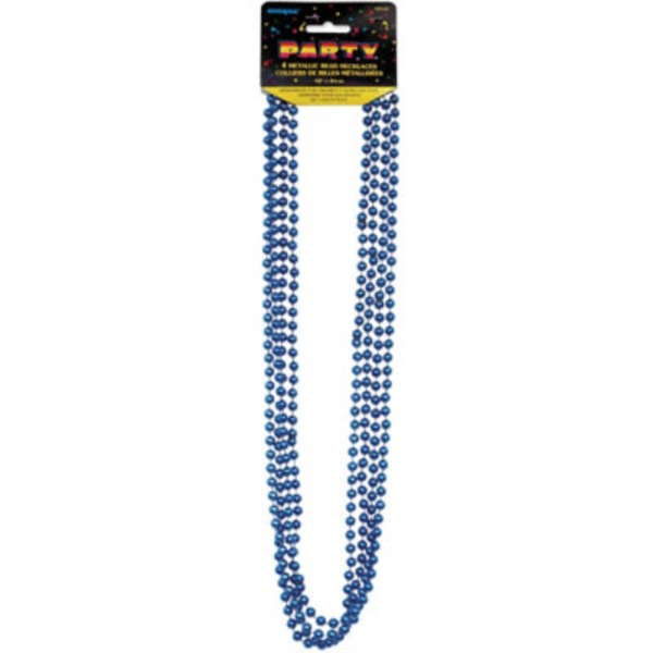 Unique Blue Metallic Bead Necklace