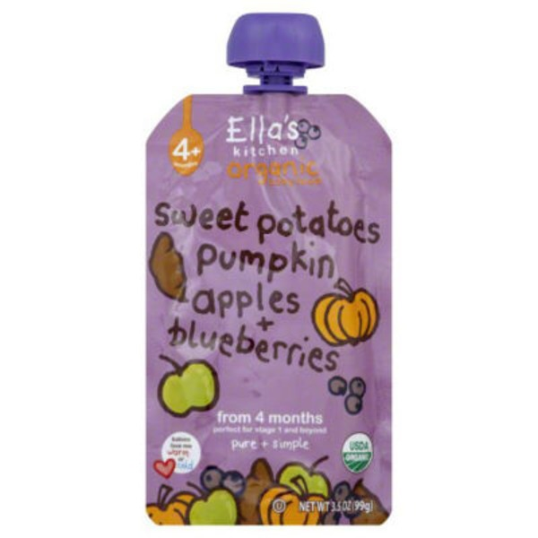 Ella's Kitchen Stage 1 Sweet Potatoes, Pumpkins, Apples, Blueberries Baby Food