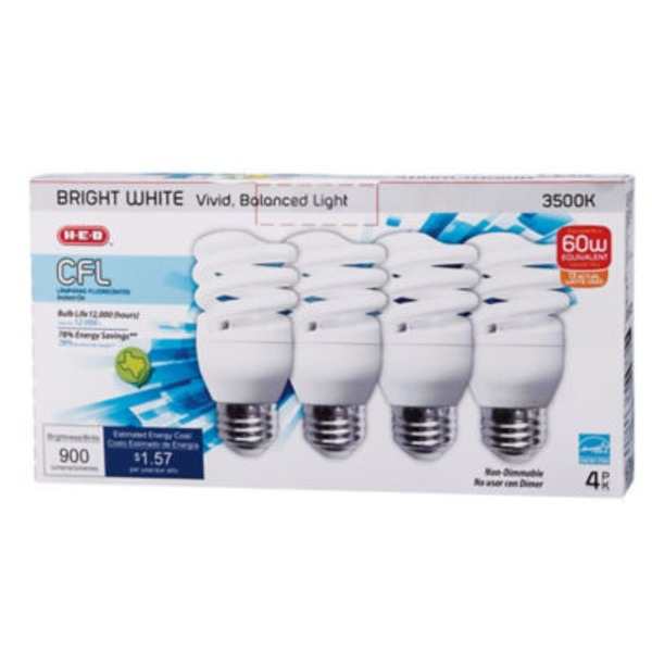 H-E-B Micro T2e 13 Watt Cfl Bright White Light Bulbs