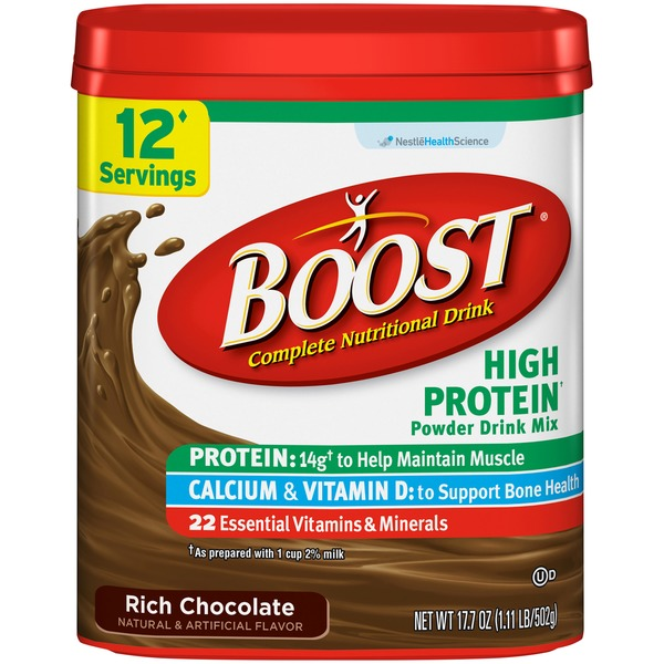 Boost High Protein Rich Chocolate Complete Nutritional Drink Mix
