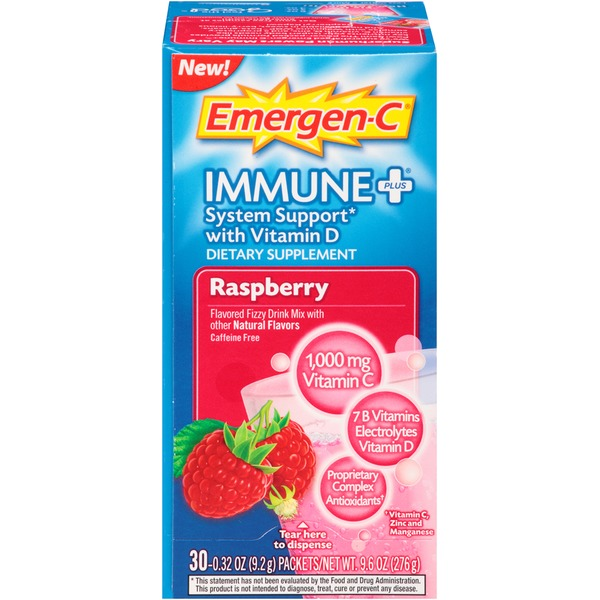 Emergen-C Immune+ Raspberry Drink Mix Dietary Supplement