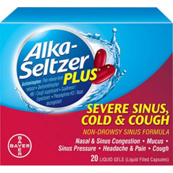 Alka-Seltzer Plus Severe Sinus Cold & Cough Liquid Gels Multi-Symptom Relief