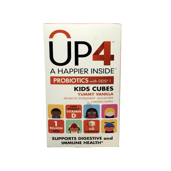 UP4 Probiotics with DDS-1, Kids Cubes, Chewables, Yummy Vanilla