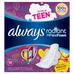 Always Radiant Teen Regular Pads with Wings, Unscented, 14 Count