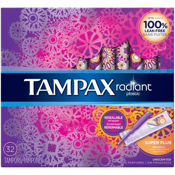 Tampax Radiant Tampax Radiant Plastic Super Plus Absorbency Tampons 32 Count Feminine Care