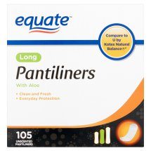 Equate Pantiliners with Aloe, Long, Unscented, 105 Ct