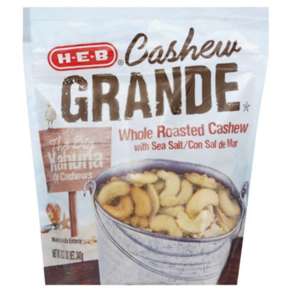 H-E-B Cashew Grande Whole Roasted With Sea Salt