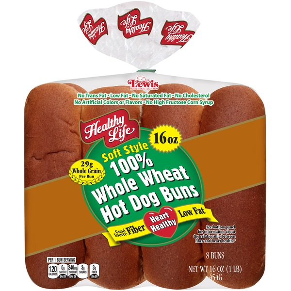 Healthy Life Soft Style 100% Whole Wheat Hot Dog Buns