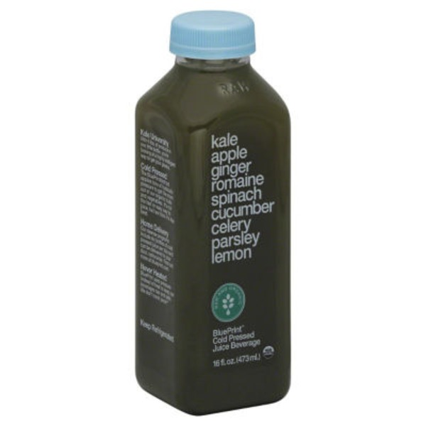 Blueprint Juice Juice Beverage, Cold Pressed, Kale Apple Ginger Romaine Spinach Cucumber Celery Parsley Lemon