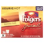 Keurig Hot Folgers Gourmet Selections Light Roast Coffee Value Pack, 0.28 oz, 36 count