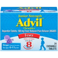 Advil Junior Strength Grape Chewable Tablets Fever Reducer/Pain Reliever
