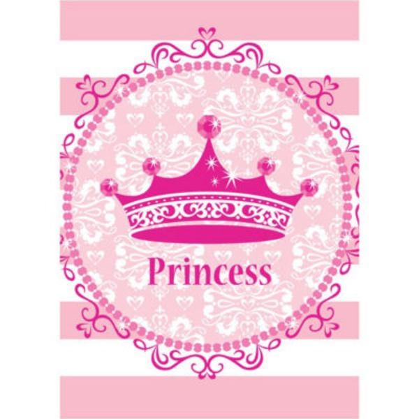 Creative Expressions Pink Princess Royalty Plastic Tablecover, 48 X 88