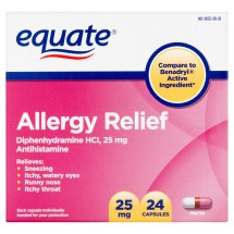 Equate Allergy Relief Diphenhydramine Capsules, 25 mg, 24 Ct