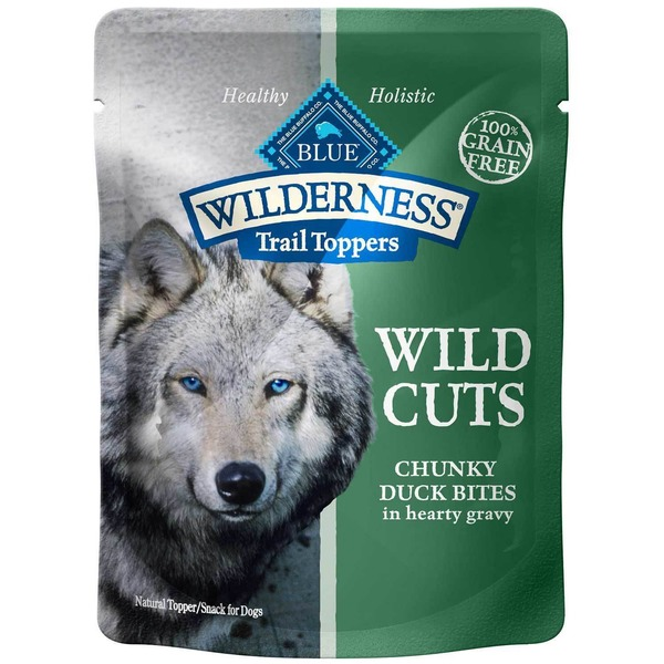 Blue Buffalo 100% Grain Free Wilderness Trail Toppers Wild Cuts Chunky Duck Bites in Hearty Gravy Snack for Dogs