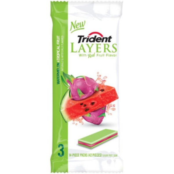 Trident Layers Watermelon + Tropical Fruit Sugar Free Gum
