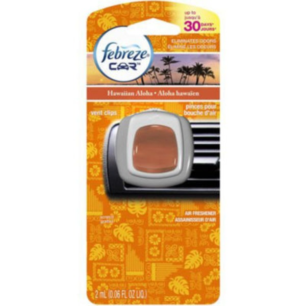 Febreze Car Vent Clip Hawaiian Aloha Air Freshener (1 Count, 0.06 oz) Air Care