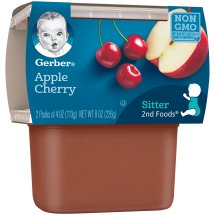 Gerber 2nd Foods Apples and Cherries Baby Food, 4 oz Tubs, 2 Count