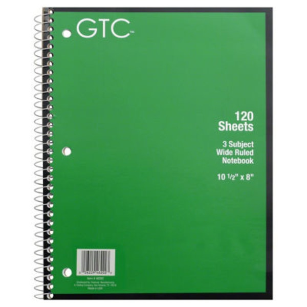 GTC 3 Subject Wide Ruled Notebook 120 Sheets, 10 1/2 X 8